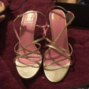 Lilly Pulitzer gold sandal